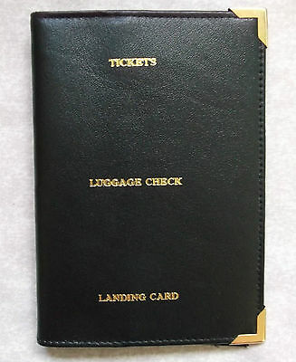 Vintage Bifold Travel Wallet Leather 1980's Black Tickets Luggage Landing Card