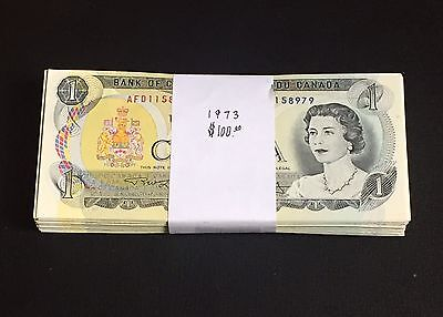 100x 1973 Bank of Canada $1 Banknotes AU to UNC