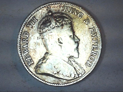 1906 East Africa -Uganda Edward Vll - 25 Cent Silver Coin-Really Nice