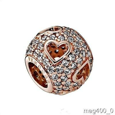Genuine Authentic PANDORA Rose Tumbling Hearts Charm 781426CZ  New