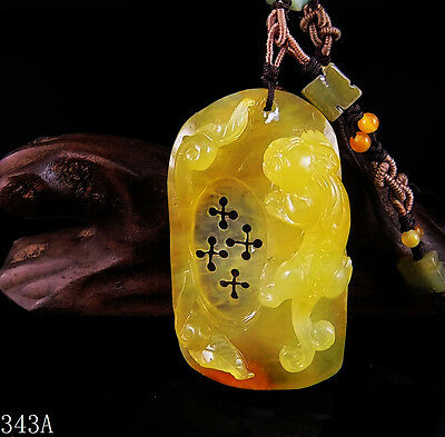 100% Natural Hand-carved Chinese Jade Pendant jadeite Necklace Pixiu&Ruyi 343a