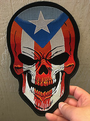 Large Patch Puerto Rico Flag Skull Patch, biker patches, skull patches