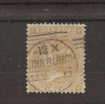 1862 - SG 87 Queen Victoria 9d straw CDS fine used WMK INV - £500
