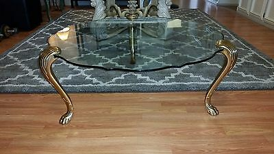 Polished Brass and Glass Top Coffee Table Lion Paw Feet