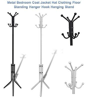 Metal Bedroom Coat Jacket Hat Clothing Floor Standing Hanger Hook Hanging Stand