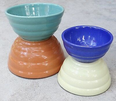 Vintage Bauer Pottery Atlanta Gloss Pastel Kitchenware Nesting Mixing Bowl Set