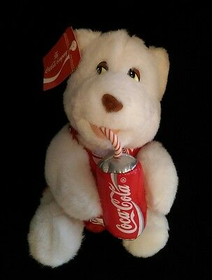 Vintage Coca-Cola Plush Stuffed White Teddy Bear Overalls Drinking Coke Can