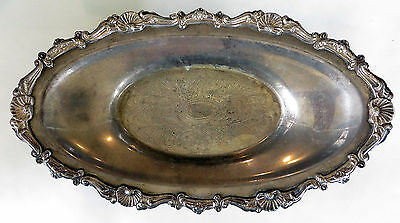 """OVAL SILVER PLATED FOOTED SERVING DISH 13.5"""" x 8"""" Tarnished Tray Bowl Decorative"""