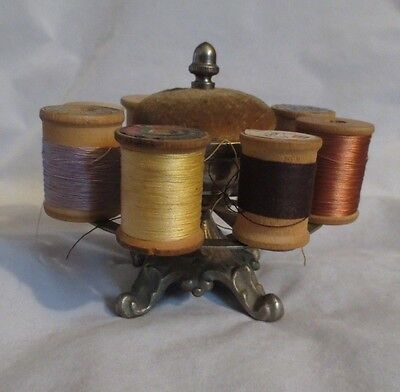 Antique Pin Cushion And  8 Spool Holder