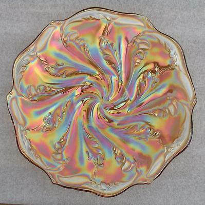 """Imperial   """"acanthus""""   Marigold Carnival Glass   9 3/4""""  Large Flat Plate"""