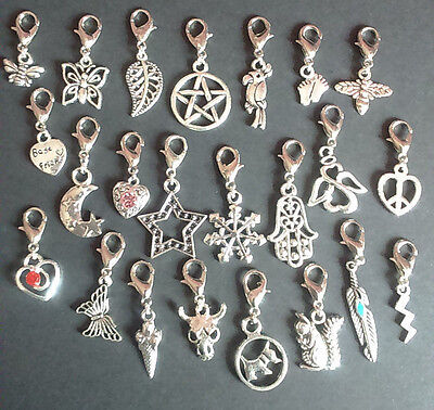 Clip on charms for bracelet keyring bag tibetan silver