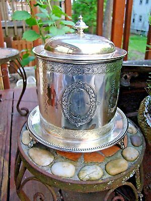 Vintage Ornate  Footed Biscuit Jar Silver Plated  (Hallmarked)
