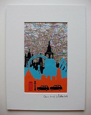 Hand-Crafted Original Mounted Paper Cutout Picture Of The London Skyline