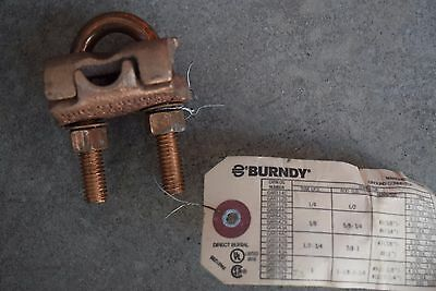 Burndy GAR6429 Copper Ground Clamp 5/8-3/4 ROD to 2/0-250AWG Grounding