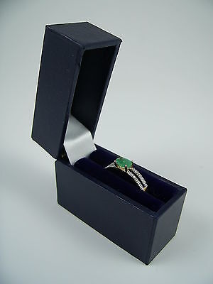 9 ct Yellow Gold Natural Emerald & Diamond Ring Size S, Boxed