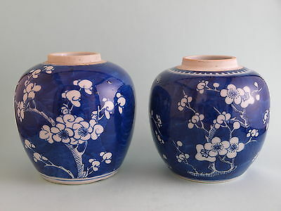 2 Antique Chinese Hand Painted Blue and White Prunus Ginger Jars
