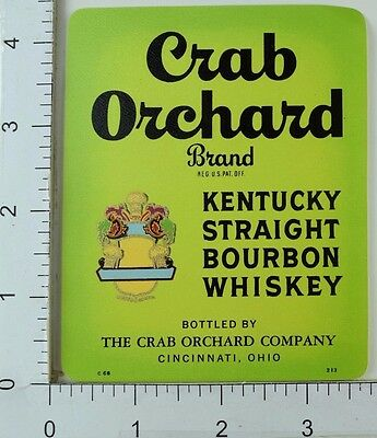 1950's-60's Vintage Crab Orchard Brand Bourbon Whiskey Label Bottle