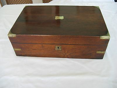 Lovely Antique Oak Box Writing Slope.brass Edging & Inserts