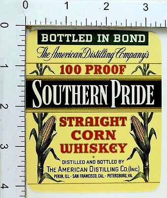 1950's-60's Vintage Southern Pride 100 Proof Corn Whiskey Label Bottle Nice!