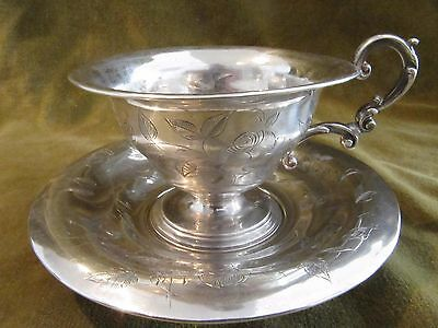 1860 french sterling silver tea cup flowers & leaves 140g
