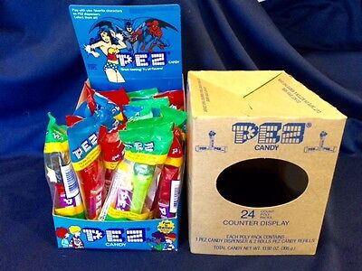 NOS 1997 Pez Candy 24 Piece Counter Display Superheroes 28602 w/ Star Wars Ad