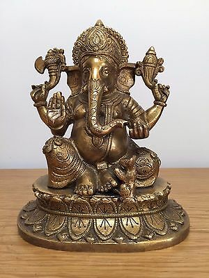 "Hand Engraved Hindu God Ganesha Brass Metal Statue Fine Sculpture 9"" Inch"