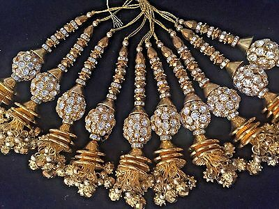 1 pair of Indian Gold Zircon Latkan Sari Blouse Accessory Duppata Sewing