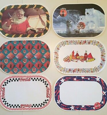 Vintage Placemats Coca-Cola Plastic Reversible Set of 6