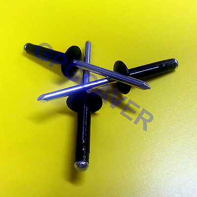 Exploding Tri-Fold Large Head BLACK Racing Pop Rivet Fastener 50pc 3/16 Aluminum