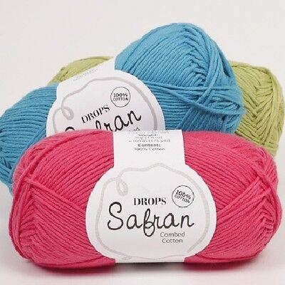 Sale! Drops Safran 100% Combed Egyptian Cotton 4Ply Baby Knitting Wool/yarn 50G