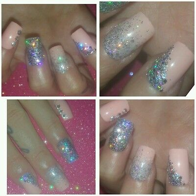 Unique Unusual Peach & Silver Glitter & Gems Square Nails x 20 PARTY NAILS