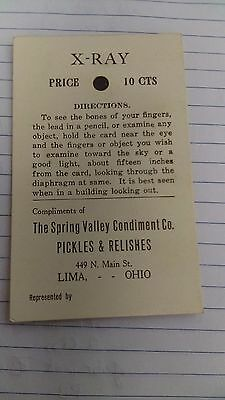 Lima, Ohio  X-RAY card. The Spring Valey Condiment Co. Pickles & Relishes