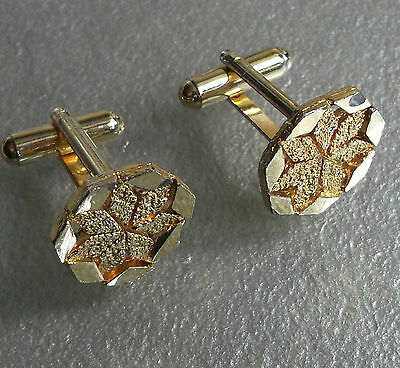 Vintage Cufflinks Metal Mens 1960's 1970's Mod Goldtone Starburst Cut Metal
