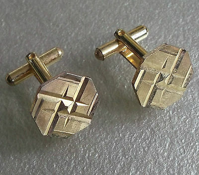 Vintage Cufflinks Metal Mens 1960's 1970's Mod Goldtone Octagonal Cut Metal