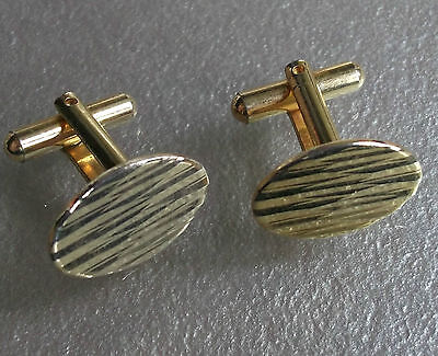 Vintage Cufflinks Metal 1960's 1970's Retro Mod Goldtone Embossed Metal