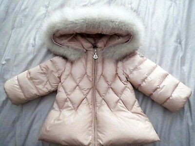 Moncler Pink Splendeur Baby Girls Fur Hooded Jacket Age 9 - 12 Months Rrp 375.00