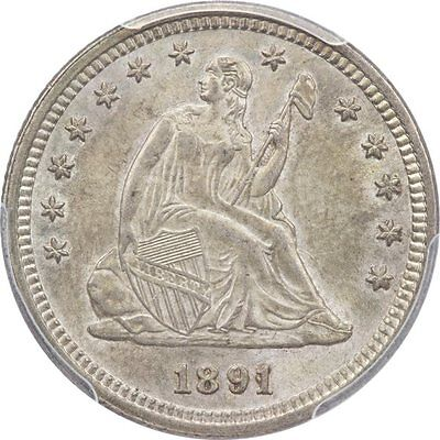 Choice 1891 Liberty Seated Quarter PCGS MS64 CAC