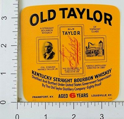 1950's-60's Vintage Old Taylor Kentucky Straight Bourbon Whiskey Label Bottle