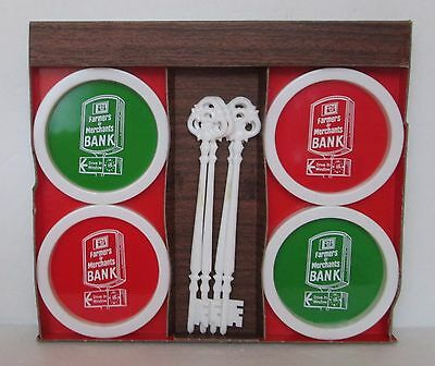 4 Vintage Farmers & Merchants Bank Plastic Coasters & Stirrers