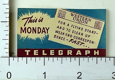 1930's-40's Western Union Telegraph Company Advertising Label Poster Stamp F70