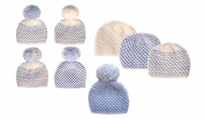 Hand Knitted Cute Baby Boy Bobble Pompom Beanie Hats - Premature to 0-3 mth