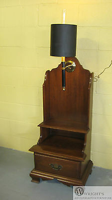 WILLETT Solid Cherry Step Style High Back Lamp Sconce End Table (original shade)