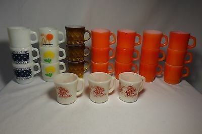 Lot 24 *Fire King* Anchor Hocking Stackable Coffee Mugs Cups & Davy Crockett