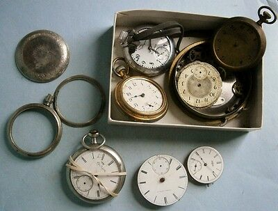 Lot of Old Pocket Watch Parts, mostly from the early 1900's or earlier, sold as