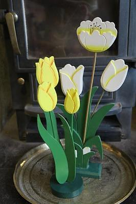 WOODEN FLOWERS on STAND TULIPS lemon & white