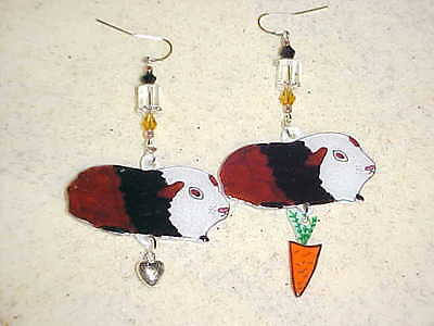 GUINEA PIG Pierced Earrings - Handmade Unique Animal Jewelry - Cavy Tri Color