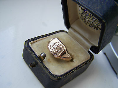 Vintage Heavy Solid 9Ct Gold Monogrammed L G  Signet Pinky Ring Size O Rose Gold