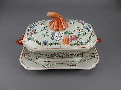 Antique Chinese Export Familiar Tureen and plate,  Fox head Handles 18th Ct 9""