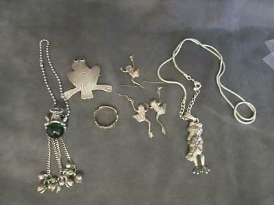 Frog Jewelry Lot - Mostly Sterling - Brooch - Pendants - Earrings - Rings   rl