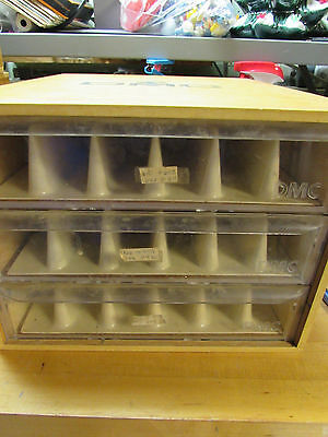 Vintage DMC Wood Wooden Floss Storage Box with 3 drawers and dividers BOX #3